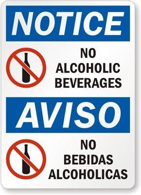 Amazon.com: Aviso: sin bebidas alcohólicas, señal de Aviso ...