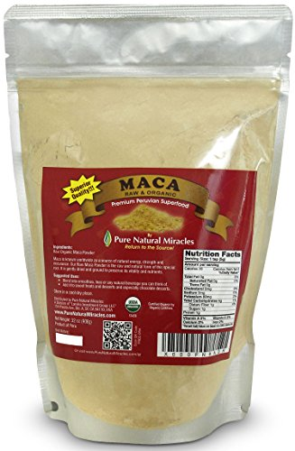Pure Natural Miracles Raw Organic Maca Root Powder for Women and Men, 16oz