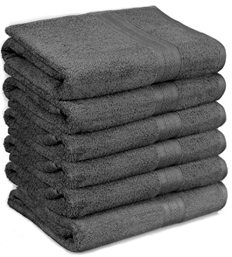 HomeLabels Cotton Soft Spa Towel, Ultra Soft Large Bath Towel, Home Gym Spa Hotel, Ideal for Daily use Highly Absorbent Hotel spa Bathroom Towel Collection, 24 x 48 Inch Set of 6 Grey