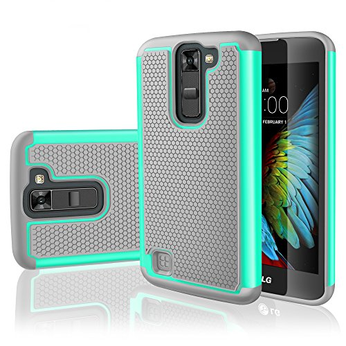 LG K7 Case, LG Tribute 5 Case,TILL [Resilient Series] Shock Absorbing Dual Layer Hybrid Rubber Plastic Impact Defender Rugged Slim Hard Case Cover Shell For LG Tribute 5 / K7 All Carriers [Turquoise]