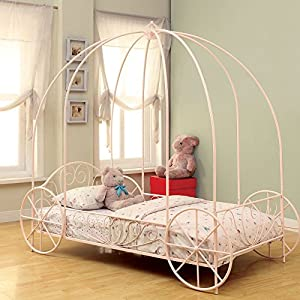 Coaster Furniture Iron Beds and Headboards Massi Youth Twin Canopy Carriage Bed – Pink