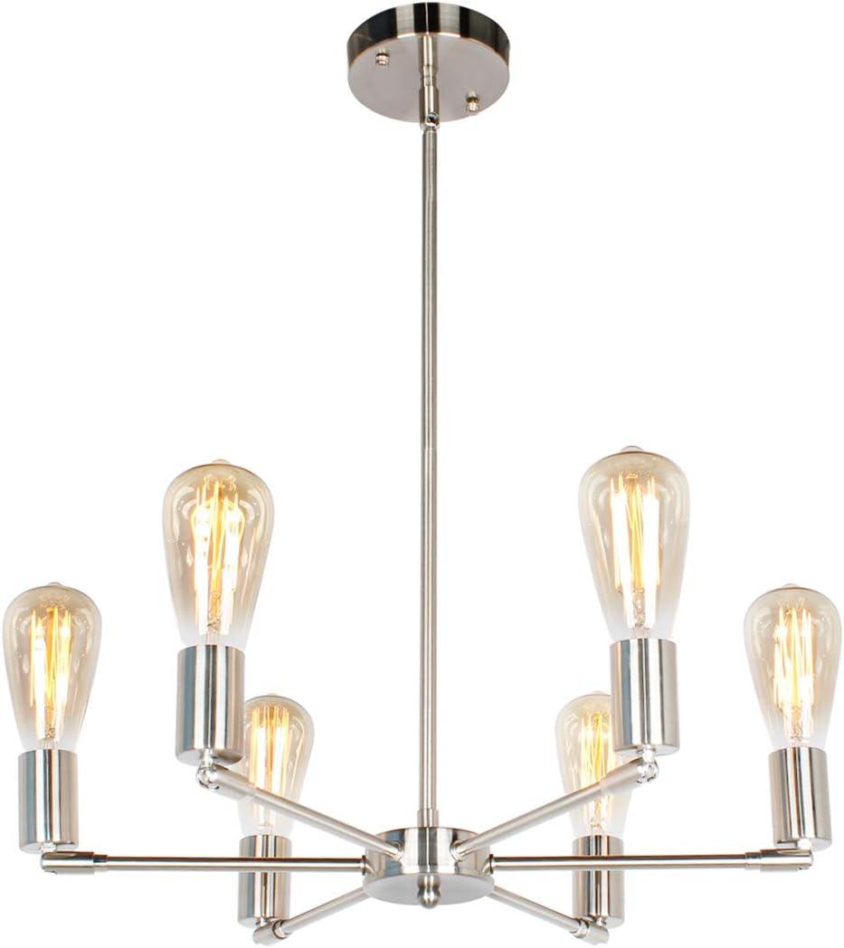 BAODEN 6 Lights Fixture Modern Sputnik Chandelier Brushed Nickel Mid Century Pendant Light Semi Flush Mount Hanging Lamps for Dining Bedroom Kitchen Lighting