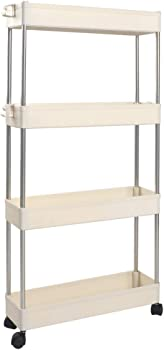 Solejazz Slim 4-Tier Slim Mobile Shelving Unit Rolling Storage Cart