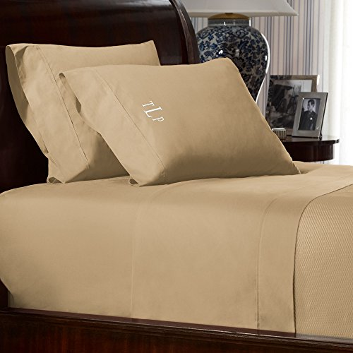Ralph Lauren RL-464 Percale Cotton Extra Deep Fitted Bed Sheet (King, Burnished Chamois)