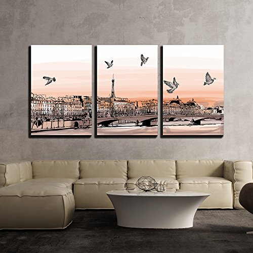 """wall26 - 3 Piece Canvas Wall Art - Vector - View of Paris from Pont Des Arts - Vector Illustration - Modern Home Decor Stretched and Framed Ready to Hang - 16""""x24""""x3 Panels"""