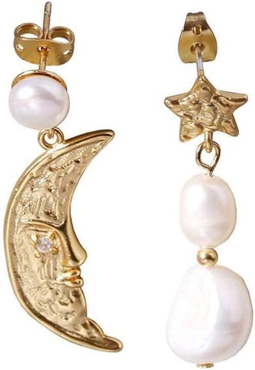 WOZUIMEI Pendientes de Estilo Chino Pendientes de Perlas Asimétricos de Luna Chapados en Oro Pendientes de Perlas de Tendencia Retro Elegante Francesa para MujerComo se muestra