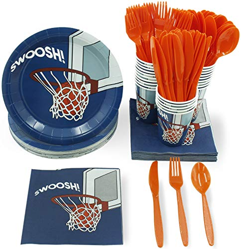 Party Supplies Okc (Juvale Basketball Party Supplies - Serves 24 - Includes Plates, Knives, Spoons, Forks, Cups and Napkins. Perfect Basketball Birthday Party Pack for Kids Basketball Sport Themed)