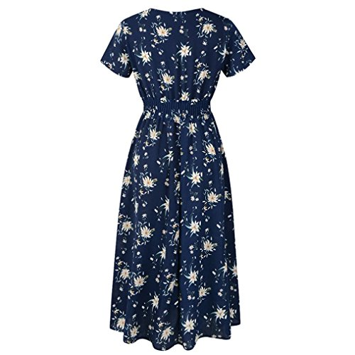Sleeve Women V Short Beach Sexy Long Navy Dress Floral Summer Sundress Party CSSD Neck vwdZvA