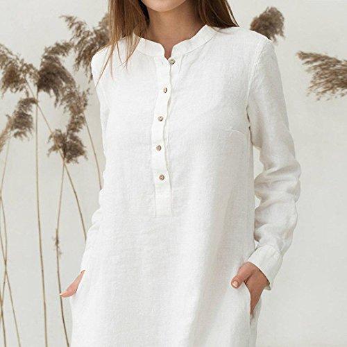 e3a1f675140f Vestiti Bianco Donna Estivi Maxi Abito Lunga Homebaby❤ Cotone Formale  Manica Lino Larghi Cerimonia Dress ...