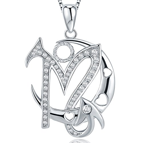 (Moon Horoscope Signs of Zodiac Pendant Necklace with Cubic Zirconia, Fashion Constellation Jewelry, 18