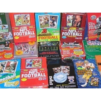 NFL 50 Original Unopened Packs of New & Vintage Football Cards (1986-1995) with One Pack of 100 Soft Sleeves