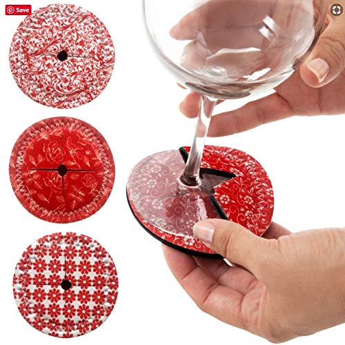 Coasters for Drinks, Slip on Wine Glass Coasters - Wine Glass Marker Set of 4 - Absorbent Drink Coasters for Glass Stemware, Drinkware - Great for Travel, Outdoors, 4