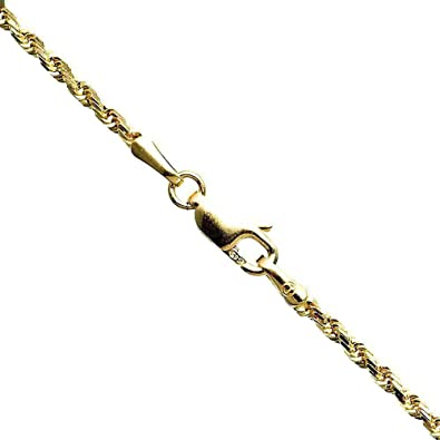 10K Yellow Gold 1 8MM Wide Hollow Rope Chain Sizes: 16 18 20 22 24