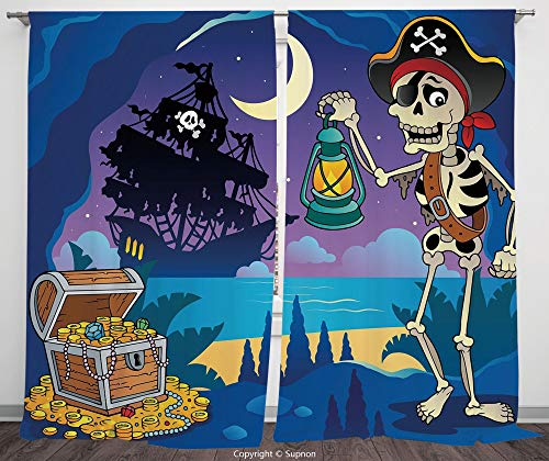 Rod Pocket Curtain Panel Polyester Translucent Curtains for Bedroom Living Room Dorm Kitchen Cafe/2 Curtain Panels/108 x 84 Inch/Pirate,Found Treasure Chest in Cave Mystery Hideout Pirate with Lantern