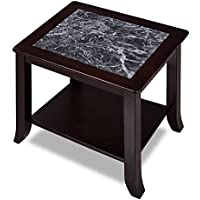 SLEEPLACE SVC22TB04D 22 Inch Modern GRIGIO VERONA Natural Marble Top / Coffee Table / Solid Wood Edge, Dark Black & Black