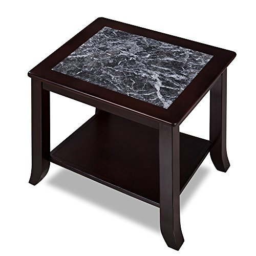 Olee Sleep Grigo Garinico Natural Marble Top Side Table / Real Marble / Classic / Stylish / Soild Wood Table, Dark Black & Black (Real Wood Living Room Furniture)