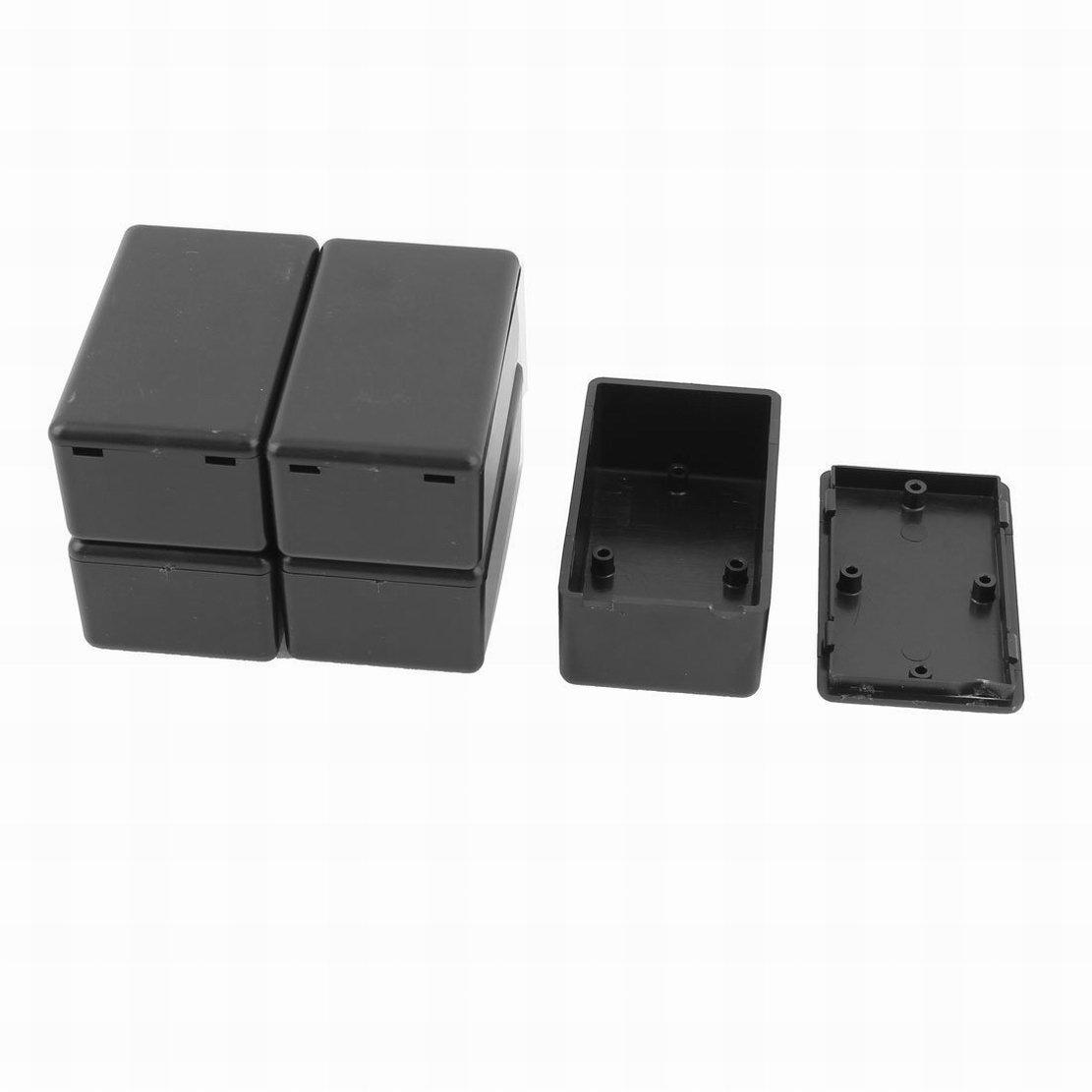 5pcs Plastic Black Electric Waterproof Junction Box Project Case 55x35x15mm