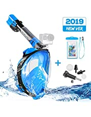 Snorkel Mask, Tvird Full Face Snorkeling Mask Easy Breathing Anti-Fog Anti-Leak, Adjustable Head Strap & Detachable Camera Mount Diving Mask for Adults L/XL -2019 Newest with Waterproof Phone Case