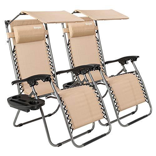 Phenomenal Bonnlo Zero Gravity Chair Set Of 2 With Canopy Patio Inzonedesignstudio Interior Chair Design Inzonedesignstudiocom