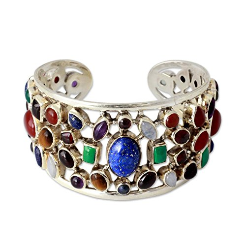 NOVICA Multi-Gem Cultured Freshwater Pearl .925 Silver Cuff Bracelet, Shimmering Confetti'