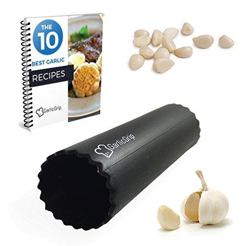 Garlic Grip Silicone Garlic Peeler Tube Cooking gadgets home kitchen tools Free Garlic Recipe eBook Black