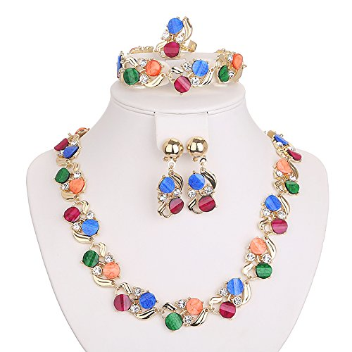 Colorful Flower Style Women Jewelry Set Earring Bracelet Necklace Ring