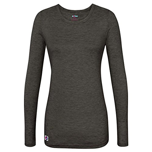 (Sivvan Women's Comfort Long Sleeve T-Shirt / Underscrub Tee - S8500 - Heather Charcoal - M)