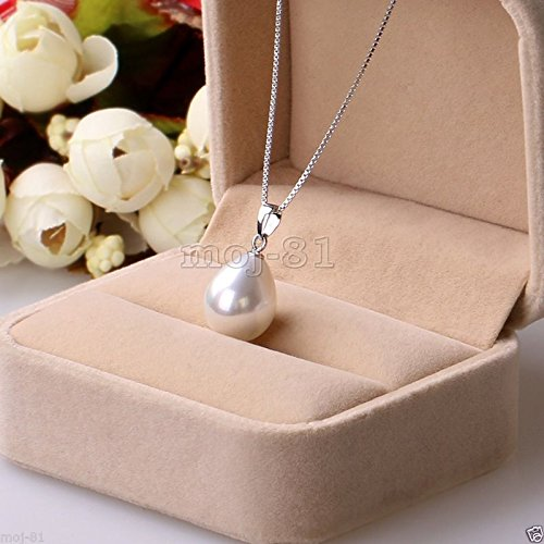 (New Fashion Women's 12x16mm Genuine White South Sea Shell Pearl Pendant Necklace)