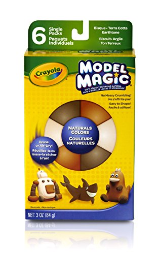 (Crayola Model Magic, Naturals (Bisque/Terra Cotta/Earthtone) 6 Count 0.5 Ounce Packs No-Mess, Soft, Squishy, Lightweight Modeling Material For Kids 4 & Up, Easy to Paint and Decorate, Air Dries)