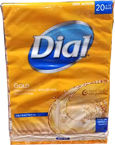 Dial Deodorant Bar Soaps - Dial Antibacterial Deodorant Gold Bar Soap, 4 Ounce (Pack of 20) Net Wt 5.LBS