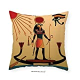 VROSELV Custom Cotton Linen Pillowcase Egyptian Decor Illustration of Ancient God Sun Ra Old Egyptian Faith Grace Icons Traditional Pagan Print Bedroom Living Room Dorm Decor Multi 12''x12''
