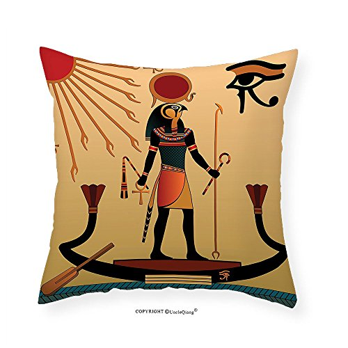 VROSELV Custom Cotton Linen Pillowcase Egyptian Decor Illustration of Ancient God Sun Ra Old Egyptian Faith Grace Icons Traditional Pagan Print Bedroom Living Room Dorm Decor Multi 12''x12'' by VROSELV