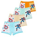 Toddler Boys Captain America Boxer Briefs Cotton Hero-Themed Underwear 4 Pack