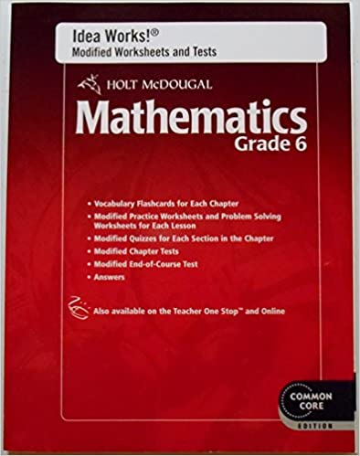 Worksheet Holt Mcdougal Worksheets amazon com holt mcdougal mathematics i d e a works modified worksheets and tests with answers grade 6 1st edition