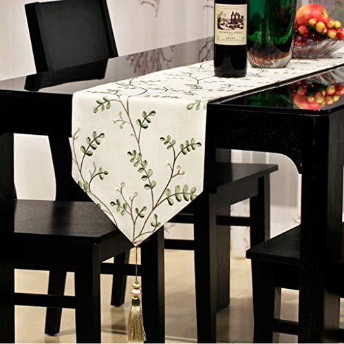 30  160cm vert JZX Nappe de ménage, nappe de table basse, drapeau de table à thé de drapeau de lit brodé d'art de tissu, hôtel de table à hommeger simple, nappe de restaurant,30  160cm,vert