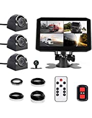 VSYSTO 4CH Dash Cam Record Camera Recording Backup DVR Front & Sides & Rear VGA for Semi Trailer Truck Van Tractor with Infrared Night Vision Lens, 7.0'' Monitor