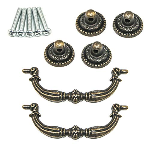 "Geesatis 3"" Set of 2 Bronze Vintage Pulls Handles Antique Decorative Pull Handles European Style for Kitchen Bronze with Mounting Screws"