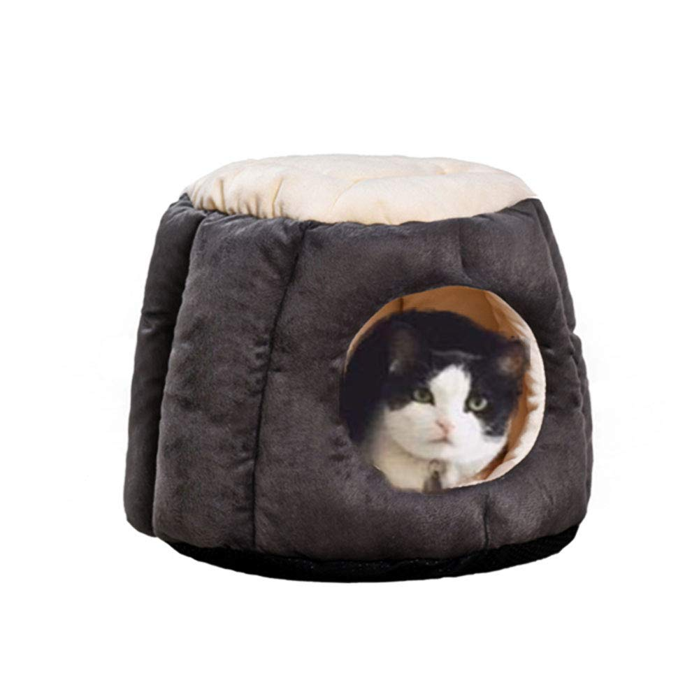 Grey L Grey L Cat House Soft Warm Cat Condo Frustum-Shape Puppy Dog Bed Cat Hideout Stylish Cat Bed Cat Hut Hideaway for Winter to Cat or Puppy