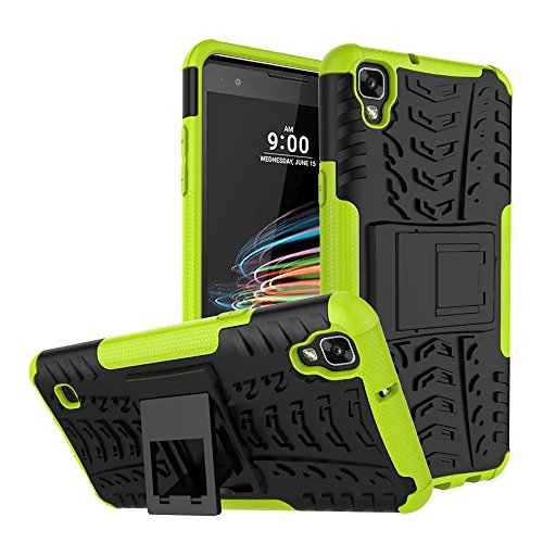 LG Tribute HD Case, LG X Style Case, MCUK Heavy Duty Rugged Dual Layer - Soft/Hard Shell 2 in 1 Tough Protective Cover Case with Kickstand for LG Tribute HD / LG X Style (Green) (Jeweled Lg Tribute Case)