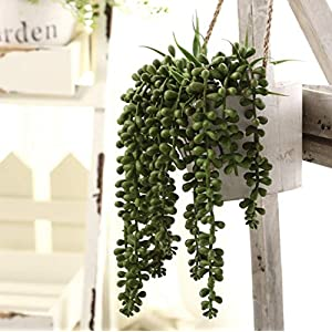 Meiliy 4pcs Artificial Succulent Plants Hanging Succulent Plants Faux Succulents Unpotted Branch String of Pearls Plant for Home Kitchen Office Wedding Garden Craft Art Decor 2
