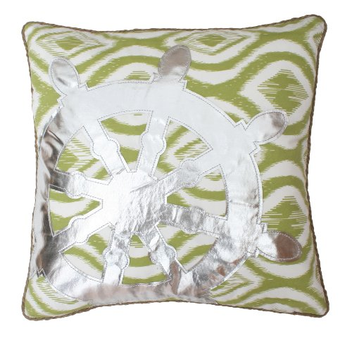 Thro by Marlo Lorenz 6842 Feather Fill Ikat Wheel Applique Cotton Pillow, 18 by 18-Inch, Dark Citron Silver