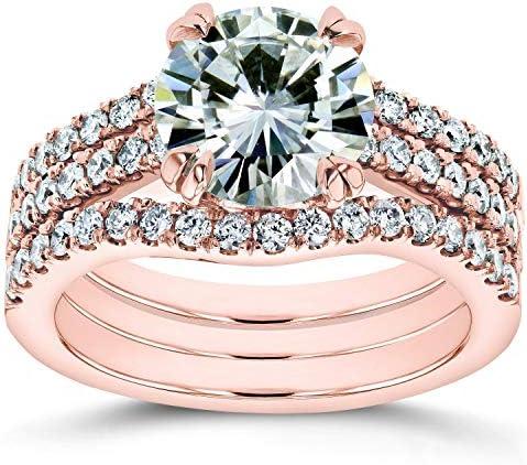 Kobelli Round Brilliant Moissanite Bridal Rings 2 1/2 CTW 14k Rose Gold (HI/VS, GH/I)