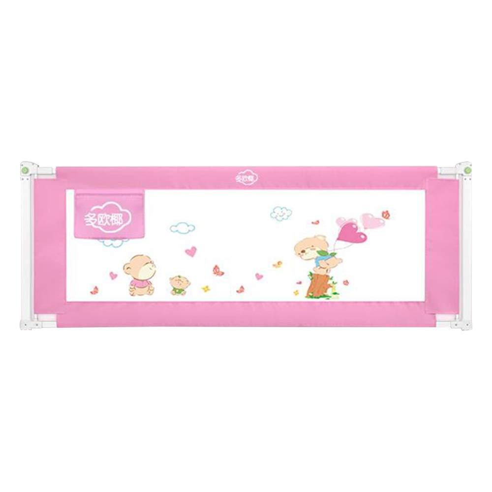 HUO ベッドフェンス 安全ベッドの柵の子供のベッドの柵垂直持ち上がるベッドの監視安全保護の監視幼児の赤ん坊および子供のための反落下のベッドのガードレール (色 : ピンク, サイズ さいず : 220cm) 220cm ピンク B07S3K5RXP