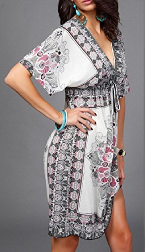 Print Dress Party Waist Coolred Smocked White Plus Sexy Size Beach V Women Neck Pxfvqzt
