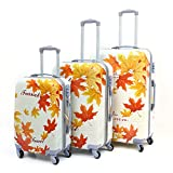 Best Suitcases Sets - Archibolt 3-Piece Luggage Set Suitcase Rolling Spinner, Leaves Review