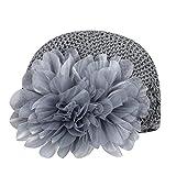 Baby Kniting Hat, FTXJ Big Flower Toddlers Infant Baby Girl Lace Headwear Hat Crochet (Gray)