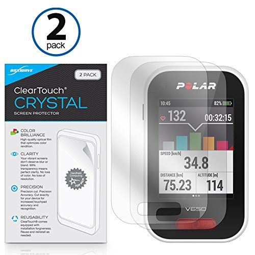 Polar V650 Screen Protector, BoxWave [ClearTouch Crystal (2-Pack)] HD Film Skin - Shields From Scratches for Polar V650