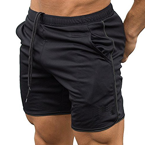 Men's Gym Workout Boxing Shorts Running Short Pants Fitted Training Bodybuilding Jogger Short Black S Tag L