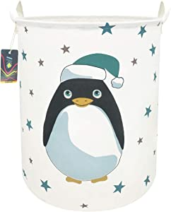 "HKEC 19.7""Waterproof Foldable Storage Bin, Dirty Clothes Laundry Basket, Canvas Organizer Basket for Laundry Hamper, Toy Bins, Gift Baskets, Bedroom, Clothes, Baby Hamper (Penguin)"