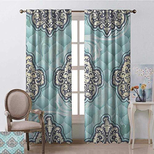 youpinnong Victorian, Sound Curtains Noise Reducing, Rococo Style Design Tiles Stylish Romantic Brocade Diamond Arabesque Swirls, Curtains Kids, W96 x L108 Inch, Pale Blue ()